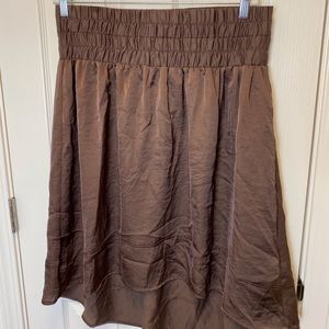BROWN SATIN SKIRT BY LANE BRYANT * 14/16 *